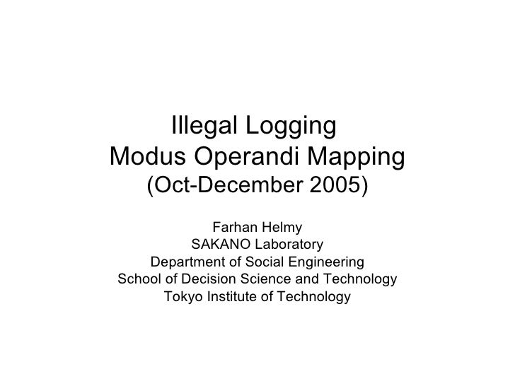 Illegal Logging Modus Operandi Mapping