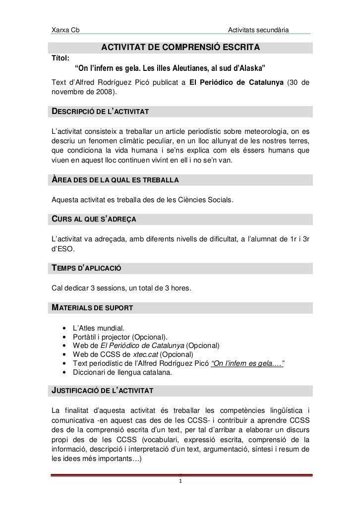 Xarxa Cb                                                  Activitats secundària                 ACTIVITAT DE COMPRENSIÓ ES...