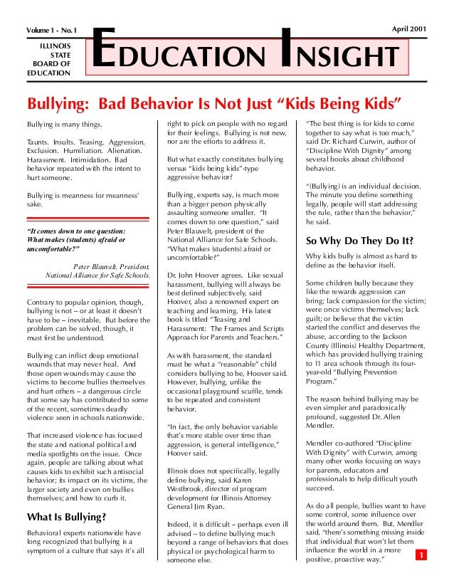 Illinois Board Of Education Bullying Insights 2001