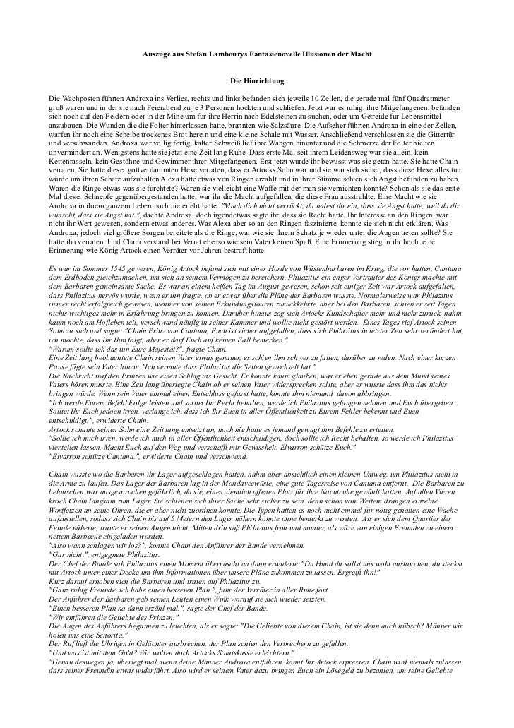 Auszüge aus Stefan Lambourys Fantasienovelle Illusionen der Macht                                                         ...
