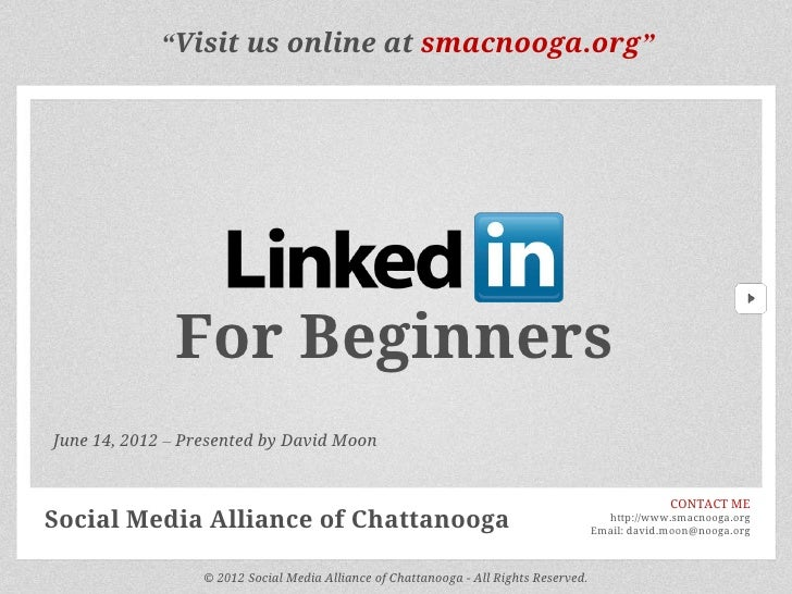 """Visit us online at smacnooga.org""              For BeginnersJune 14, 2012 – Presented by David Moon                      ..."