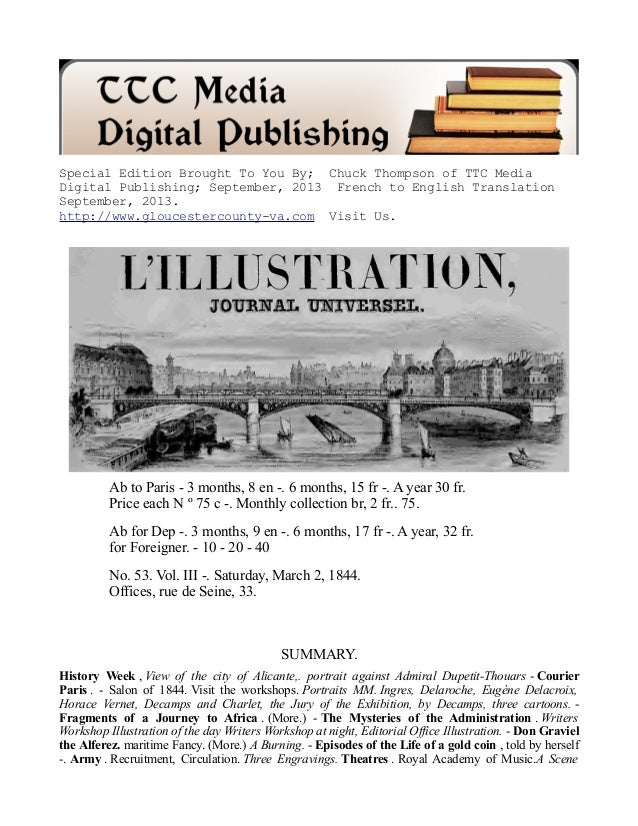Special Edition Brought To You By; Chuck Thompson of TTC Media Digital Publishing; September, 2013 French to English Trans...