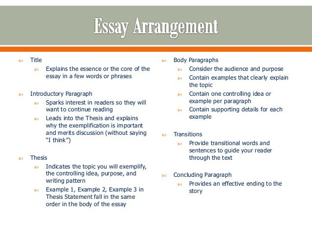 Topics for an exemplification essay