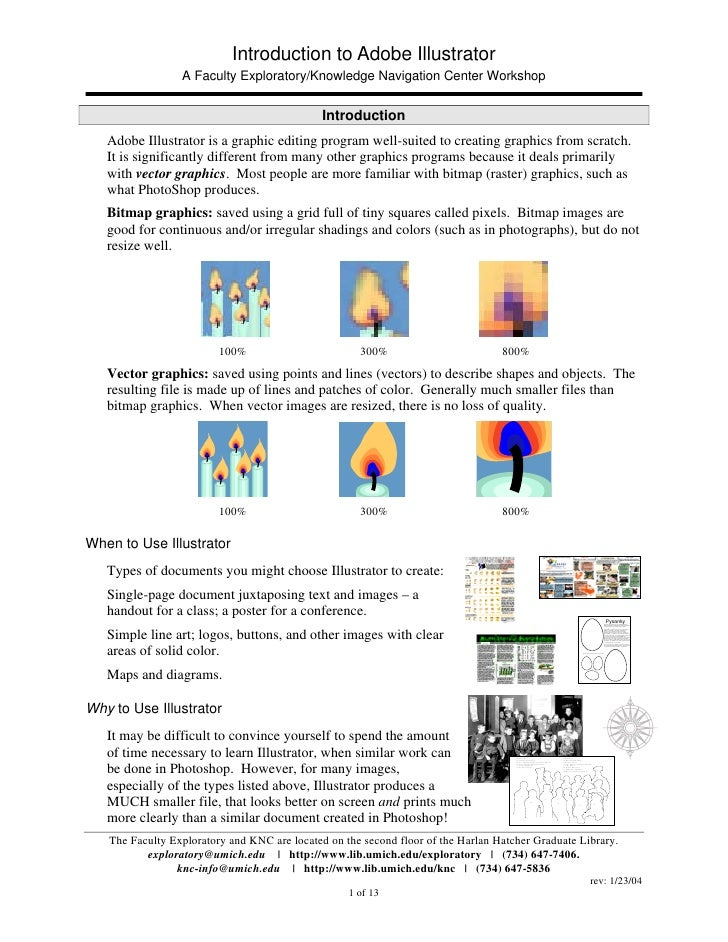 Introduction to Adobe Illustrator                 A Faculty Exploratory/Knowledge Navigation Center Workshop              ...