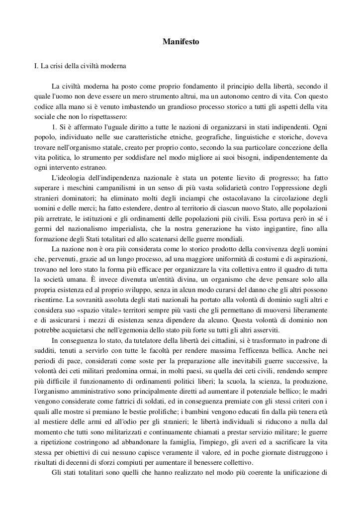 ManifestoI.Lacrisidellaciviltàmoderna       Laciviltàmodernahapostocomepropriofondamentoilprincipiodellali...