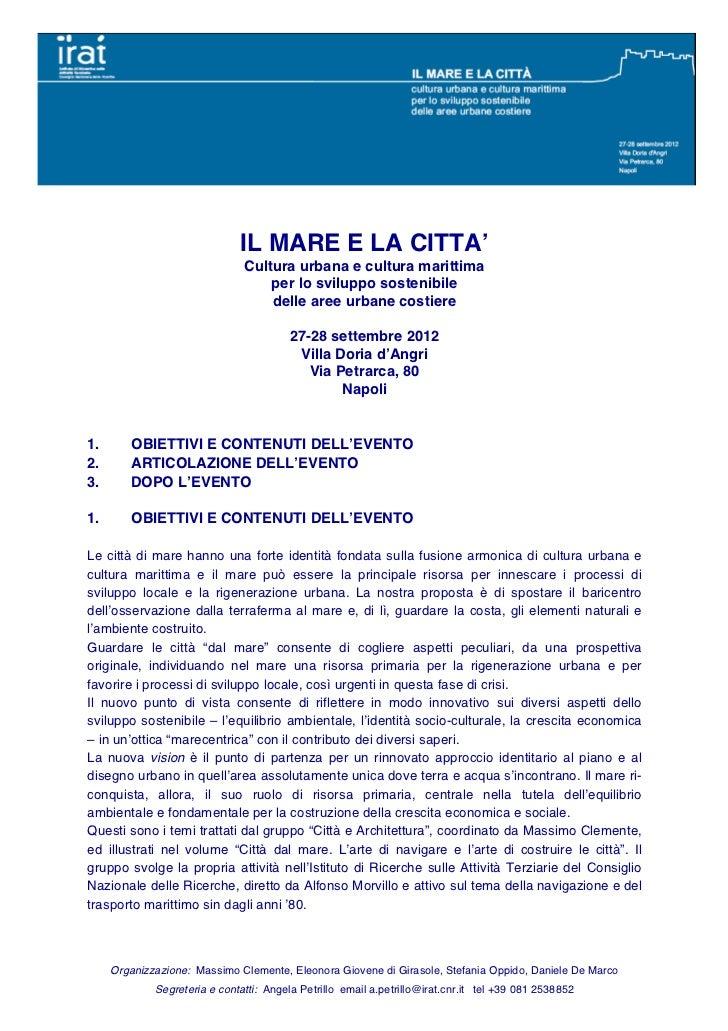 IL MARE E LA CITTA'                               Cultura urbana e cultura marittima                                   per...