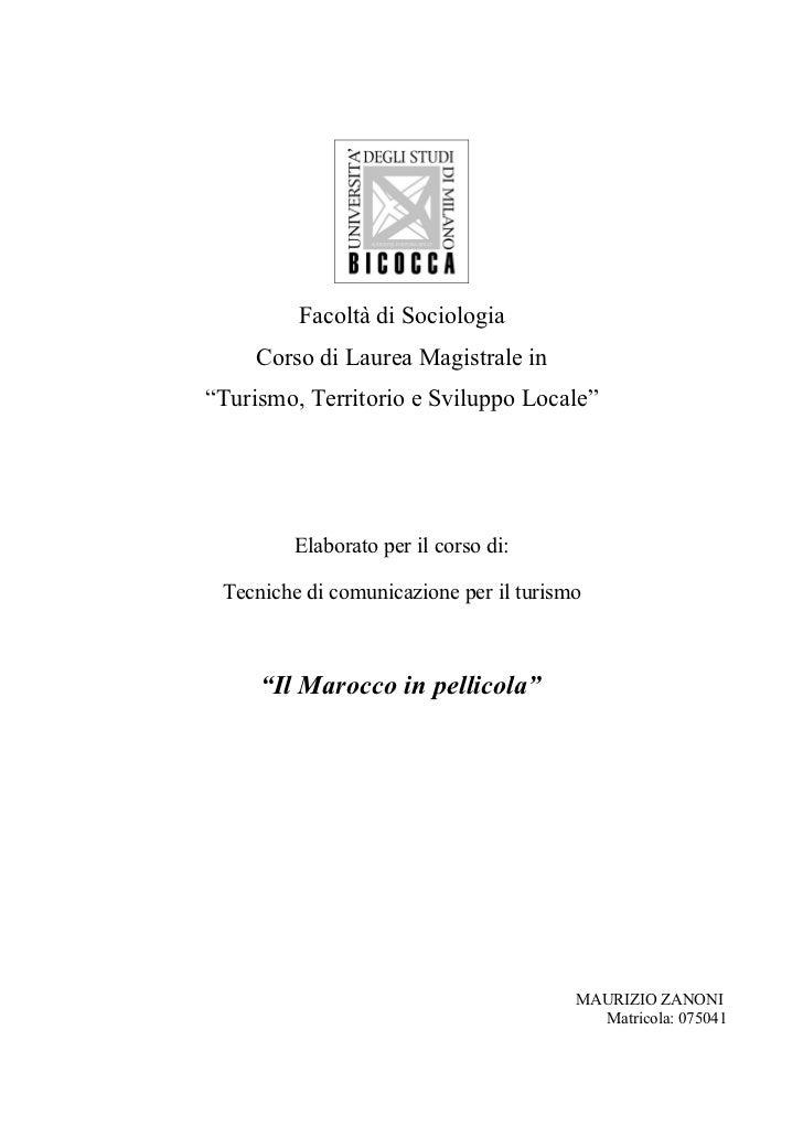 """Facoltà di Sociologia     Corso di Laurea Magistrale in""""Turismo, Territorio e Sviluppo Locale""""         Elaborato per il co..."""