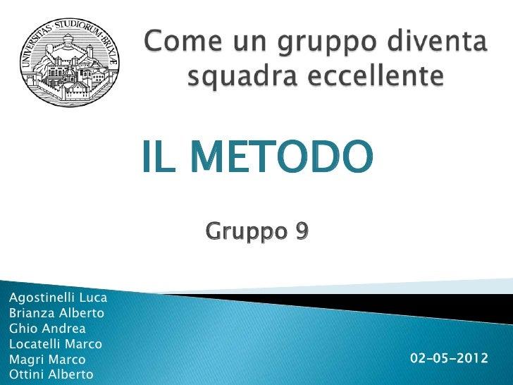 IL METODO                     Gruppo 9Agostinelli LucaBrianza AlbertoGhio AndreaLocatelli MarcoMagri Marco                ...