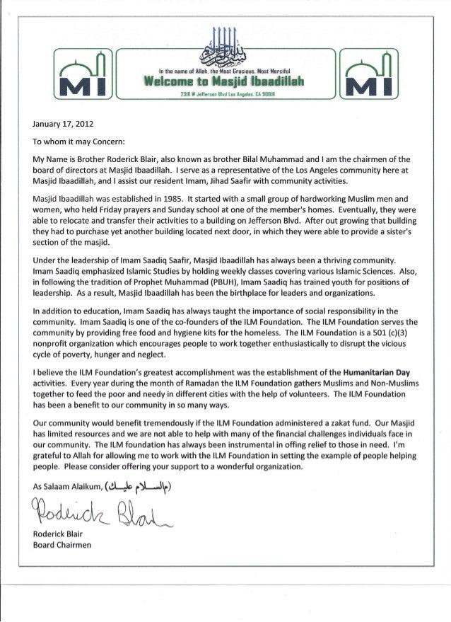 Masjid Ibaadillah Zakat Endorsement Letter, Los Angeles Ca.