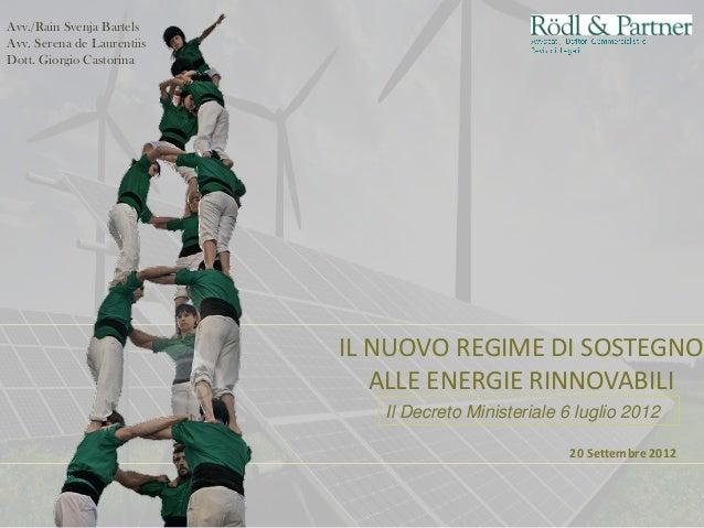 IL NUOVO REGIME DI SOSTEGNO ALLE ENERGIE RINNOVABILI 20 Settembre 2012 Il Decreto Ministeriale 6 luglio 2012 Avv./Rain Sve...