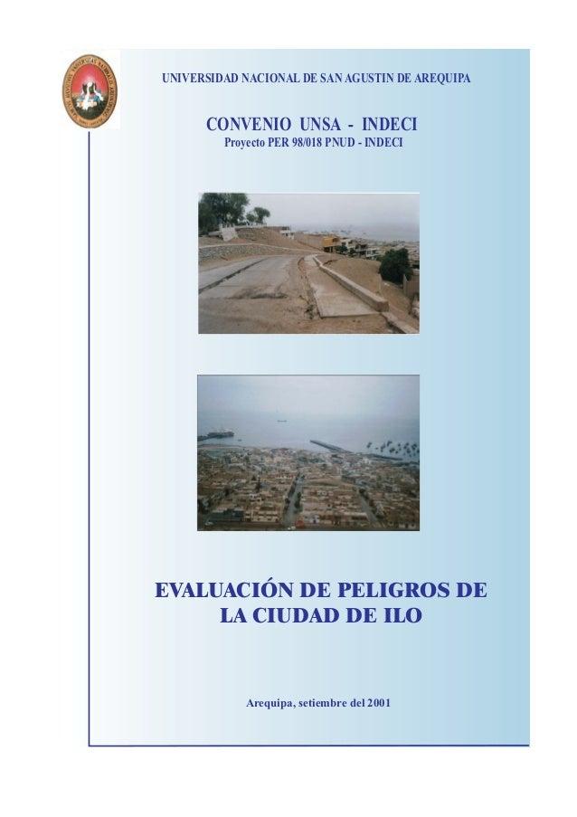 UNIVERSIDAD NACIONAL DE SAN AGUSTIN DE AREQUIPA      CONVENIO UNSA - INDECI         Proyecto PER 98/018 PNUD - INDECIEVALU...
