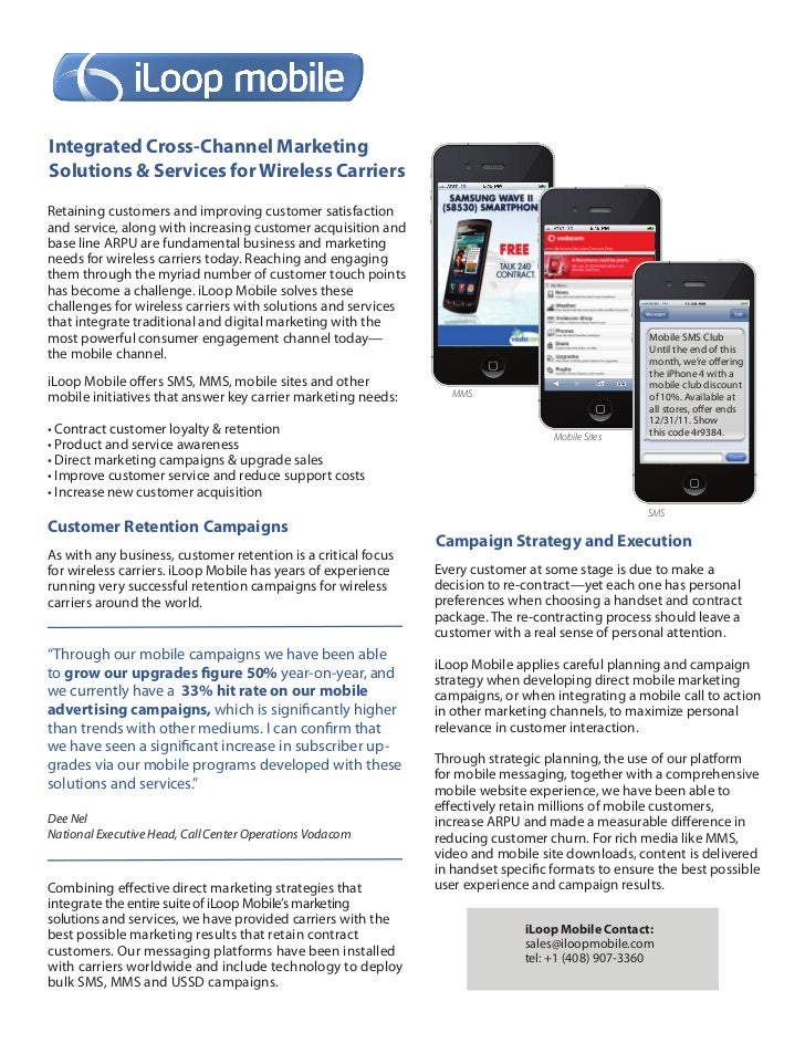 Integrated Cross-Channel MarketingSolutions & Services for Wireless CarriersRetaining customers and improving customer sat...