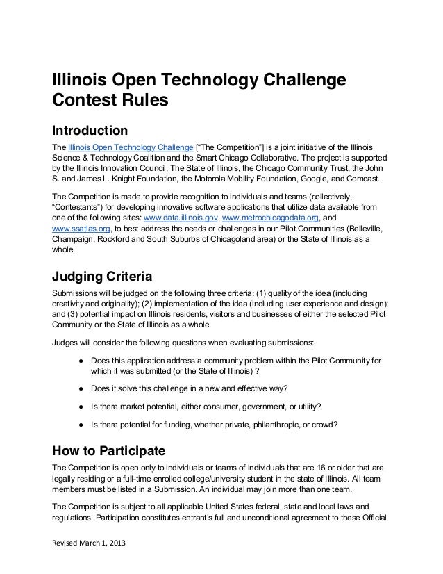"Illinois Open Technology ChallengeContest RulesIntroductionThe Illinois Open Technology Challenge [""The  Competition""]  is..."