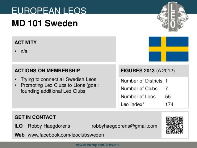 EUROPEAN LEOS Lions Clubs International MD 101 Sweden ACTIVITY • n/a  ACTIONS ON MEMBERSHIP  FIGURES 2013 (Δ 2012)  • Tryi...
