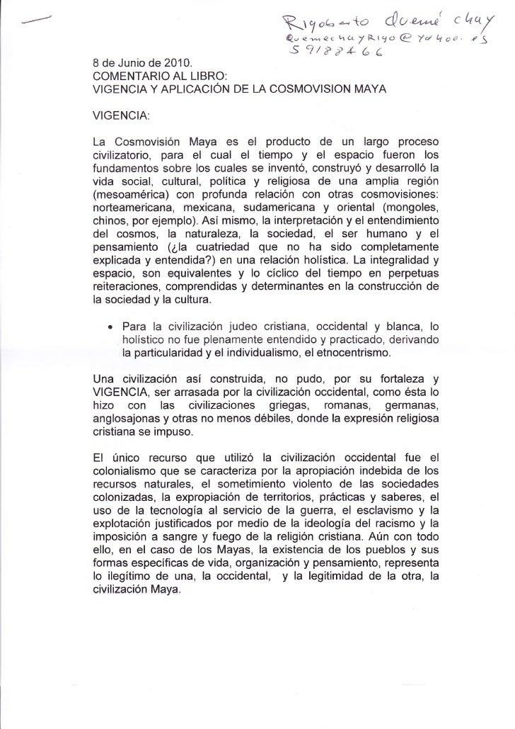 Rigoberto Comentario al Libro Vigencia dw la Cosmovisión Maya
