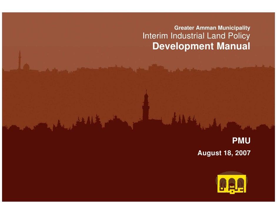 Greater Amman        Greater Amman MunicipalityInterim IndustrialMunicipality                   Land Policy        Metropo...