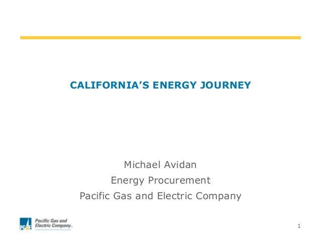 1CALIFORNIA'S ENERGY JOURNEYMichael AvidanEnergy ProcurementPacific Gas and Electric Company