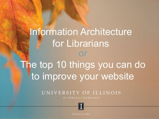 Information Architecture for Librarians or The top 10 things you can do to improve your website