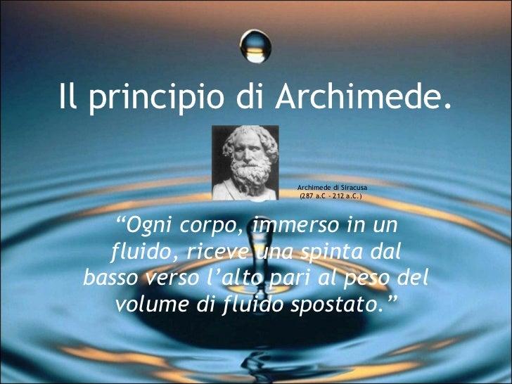 Il principio di archimede for A archimede