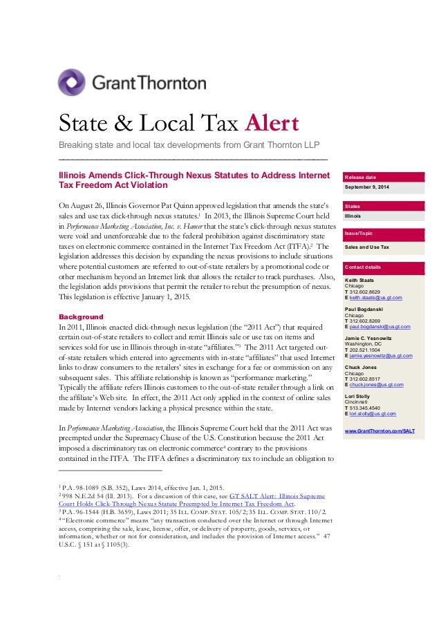 US SALT Alert: IL Amends Click-Through Nexus Statutes to Address Inte�