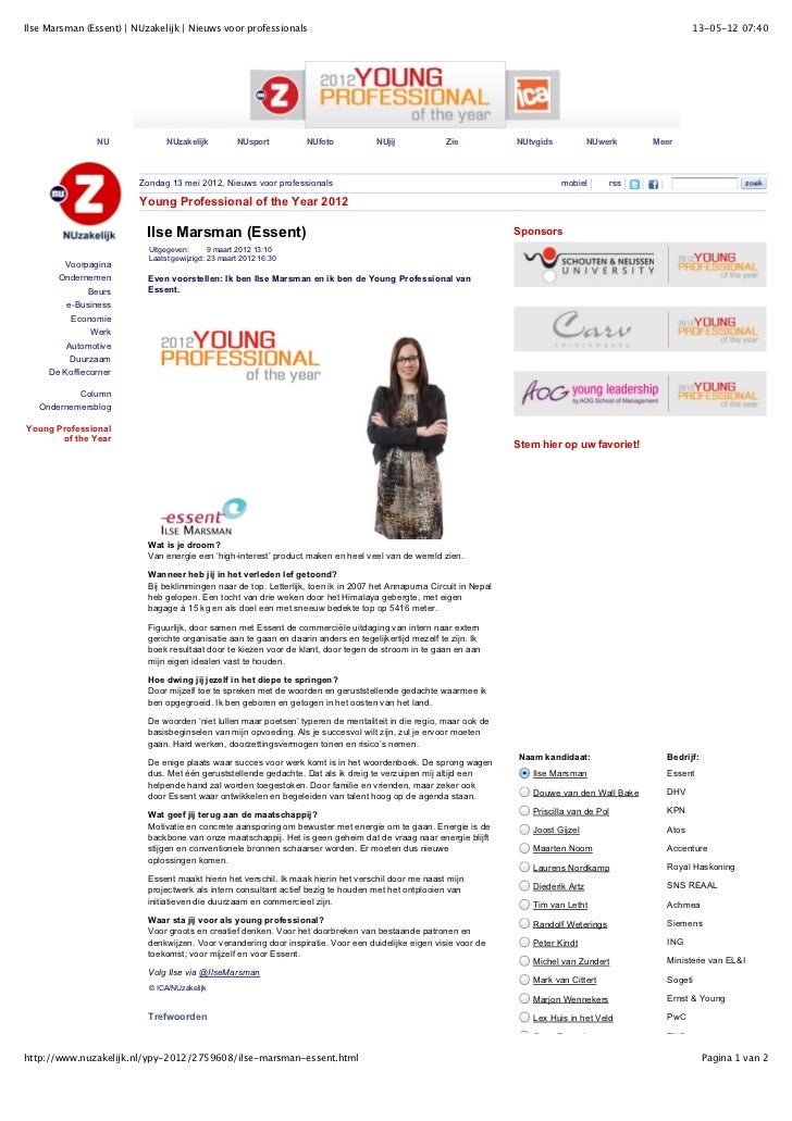 Ilse Marsman nominatie young professional of the year 2012
