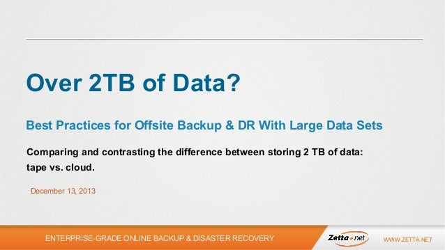 Over 2TB? Best Practices for Offsite Backup and DR With Large Data Sets