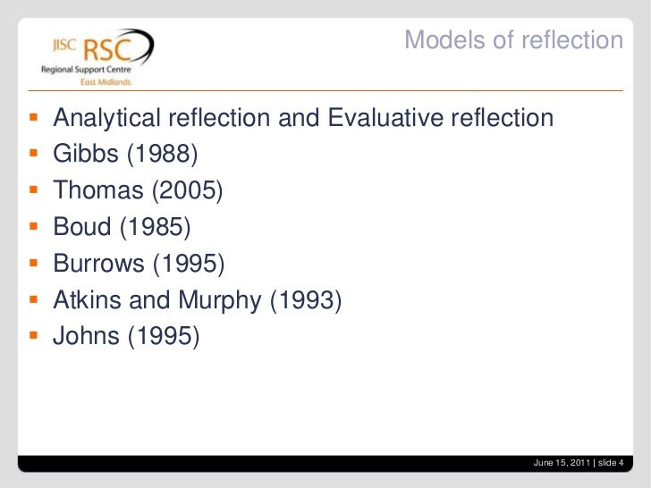 communication reflection using the atkins and murphy model Atkins & murphy reflection model 'reflective practice is a process by which you stop and think about your practice, consciously analyse your decision making and draw on theory and relate it to what you do in practice' [1].