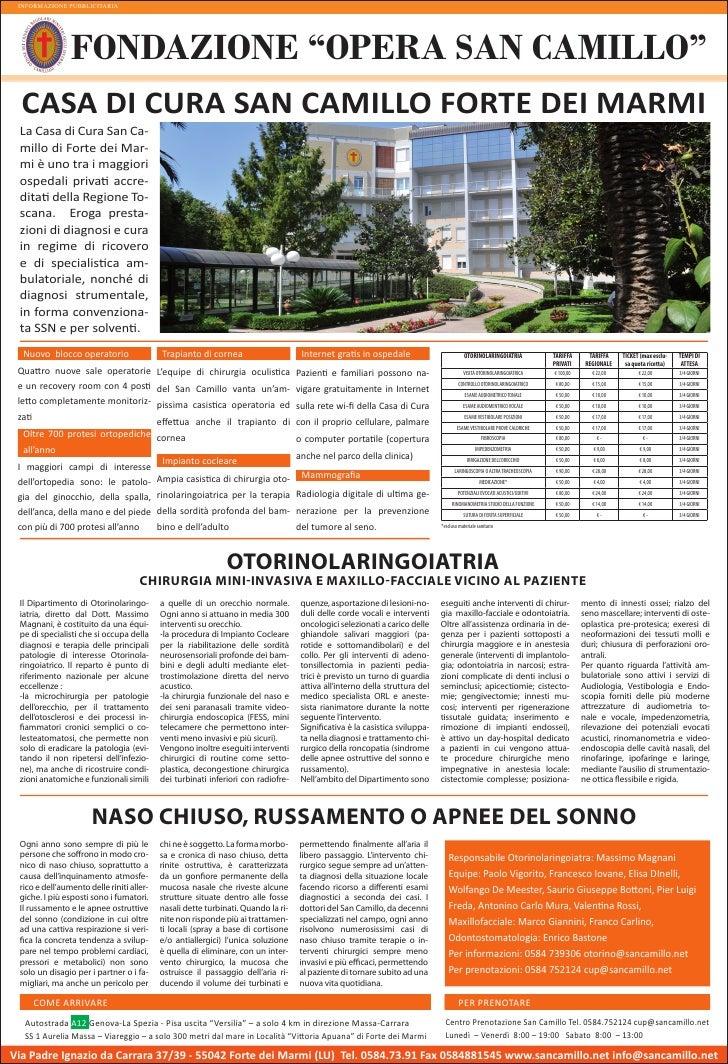"""INFORMAZIONE PUBBLICITARIA                FONDAZIONE """"OPERA SAN CAMILLO""""  CASA DI CURA SAN CAMILLO FORTE DEI MARMI La Casa..."""