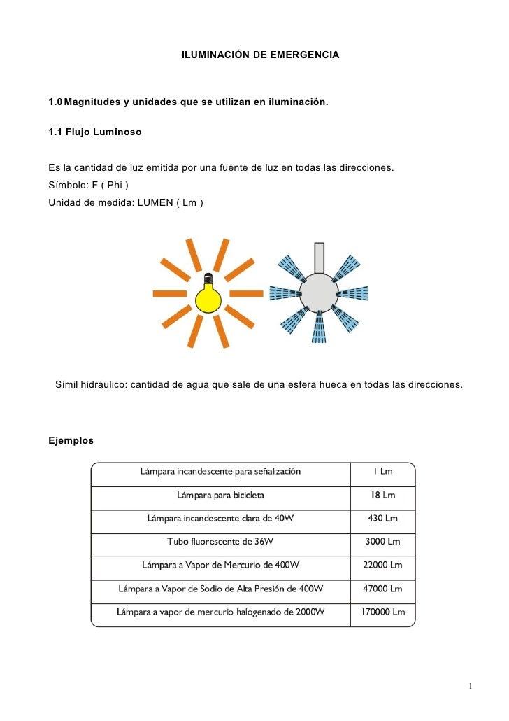 ILUMINACIÓN DE EMERGENCIA1.0 Magnitudes y unidades que se utilizan en iluminación.1.1 Flujo LuminosoEs la cantidad de luz ...