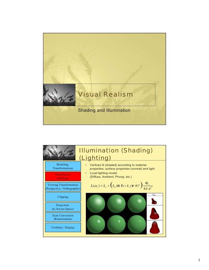 Visual Realism                             Shading and Illumination                                Illumination (Shading) ...