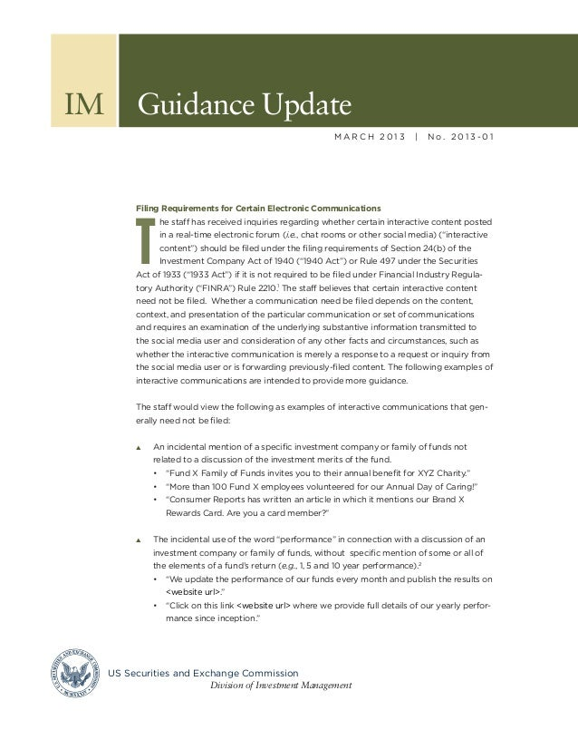 SEC Guidance for Investment Management Company Use of Social Media