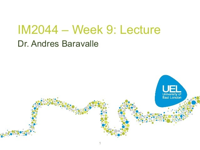 IM2044 – Week 9: Lecture Dr. Andres Baravalle  1