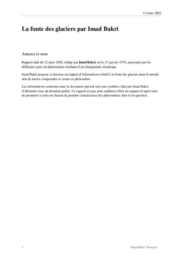 12 mars 2002 1 Imad Bakri / Français La fonte des glaciers par Imad Bakri Annexe et note Rapport daté du 12 mars 2002, réd...