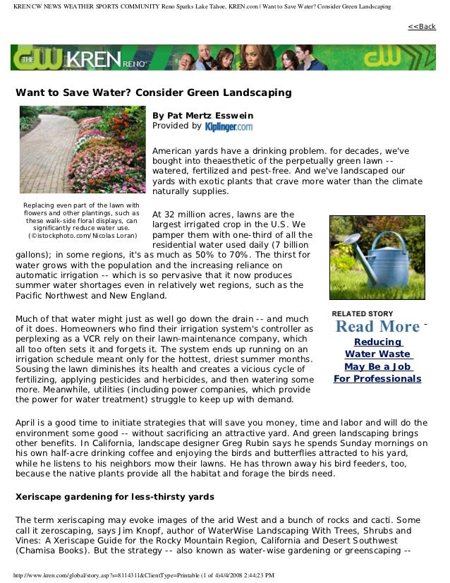 KREN CW NEWS WEATHER SPORTS COMMUNITY Reno Sparks Lake Tahoe, KREN.com | Want to Save Water? Consider Green Landscaping   ...