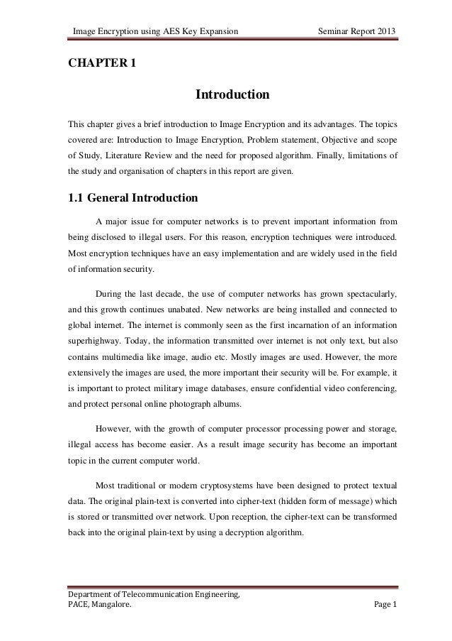 Image Encryption using AES Key Expansion Seminar Report 2013Department of Telecommunication Engineering,PACE, Mangalore. P...