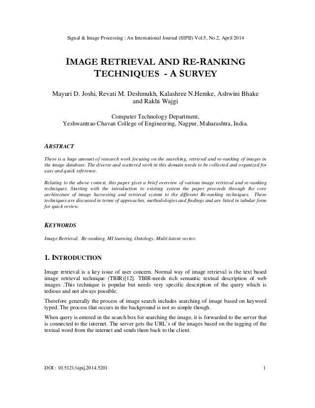 Signal & Image Processing : An International Journal (SIPIJ) Vol.5, No.2, April 2014 DOI : 10.5121/sipij.2014.5201 1 IMAGE...