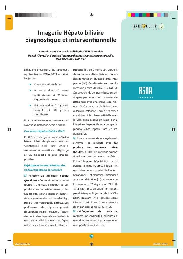 19 RSNA......... Imagerie Hépato biliaire diagnos•que et interven•onnelle François Klein, Service de radiologie, CHU Montp...