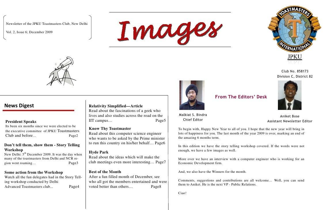 Newsletter of the JPKU Toastmasters Club, New Delhi   Vol. 2, Issue 6; December 2009                                      ...