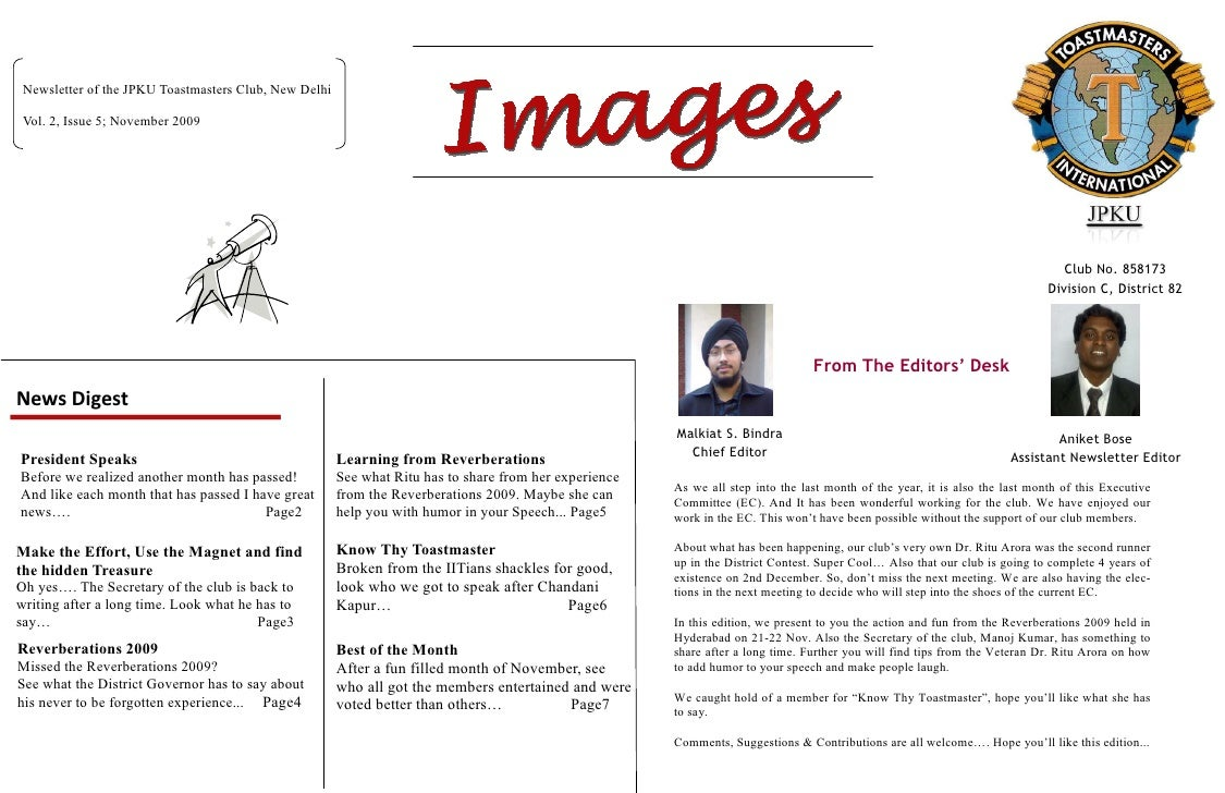 Newsletter of the JPKU Toastmasters Club, New Delhi   Vol. 2, Issue 5; November 2009                                      ...