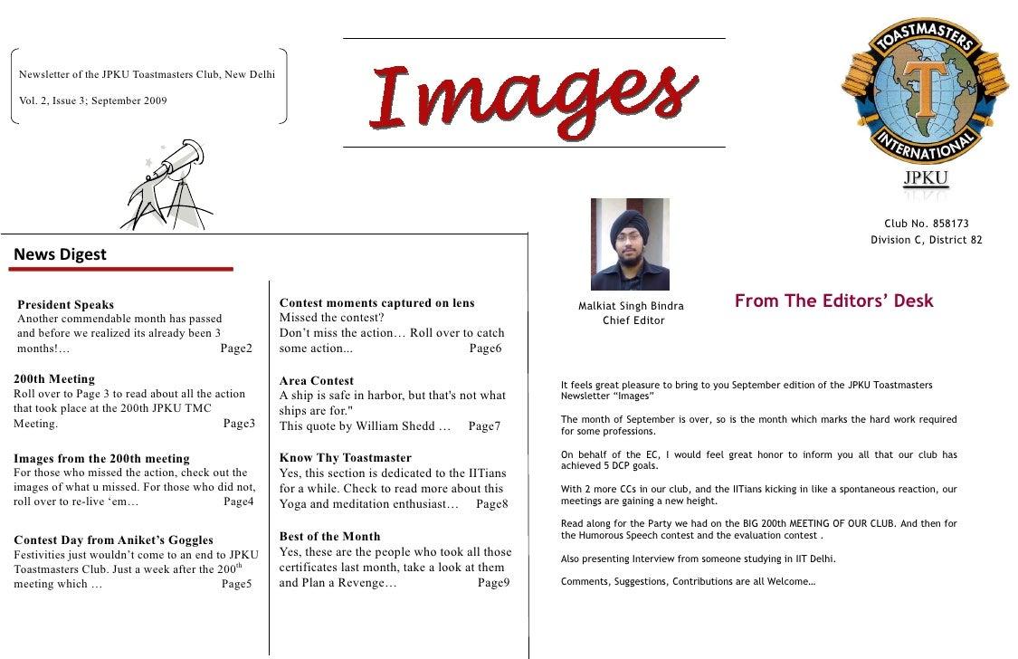 Newsletter of the JPKU Toastmasters Club, New Delhi   Vol. 2, Issue 3; September 2009                                     ...