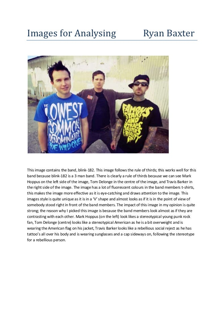 Images for Analysing                                                    Ryan BaxterThis image contains the band, blink-182...