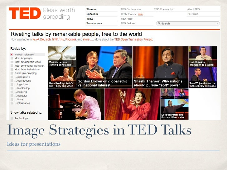 Image Strategies in TED Talks Ideas for presentations