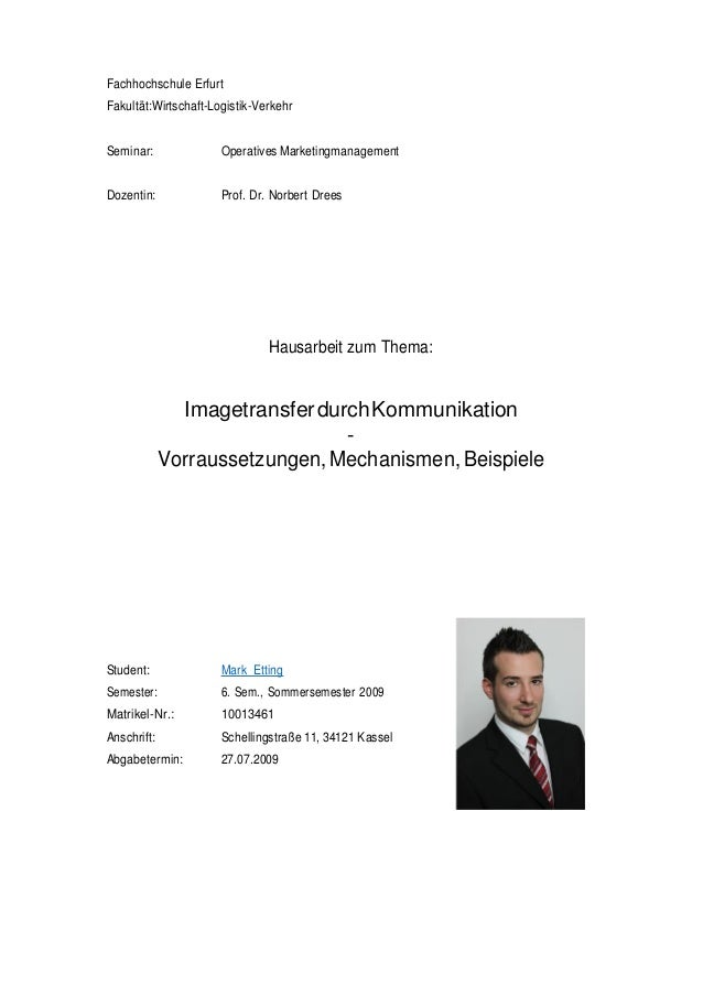 Fachhochschule Erfurt Fakultät:Wirtschaft-Logistik-Verkehr Seminar: Operatives Marketingmanagement Dozentin: Prof. Dr. Nor...