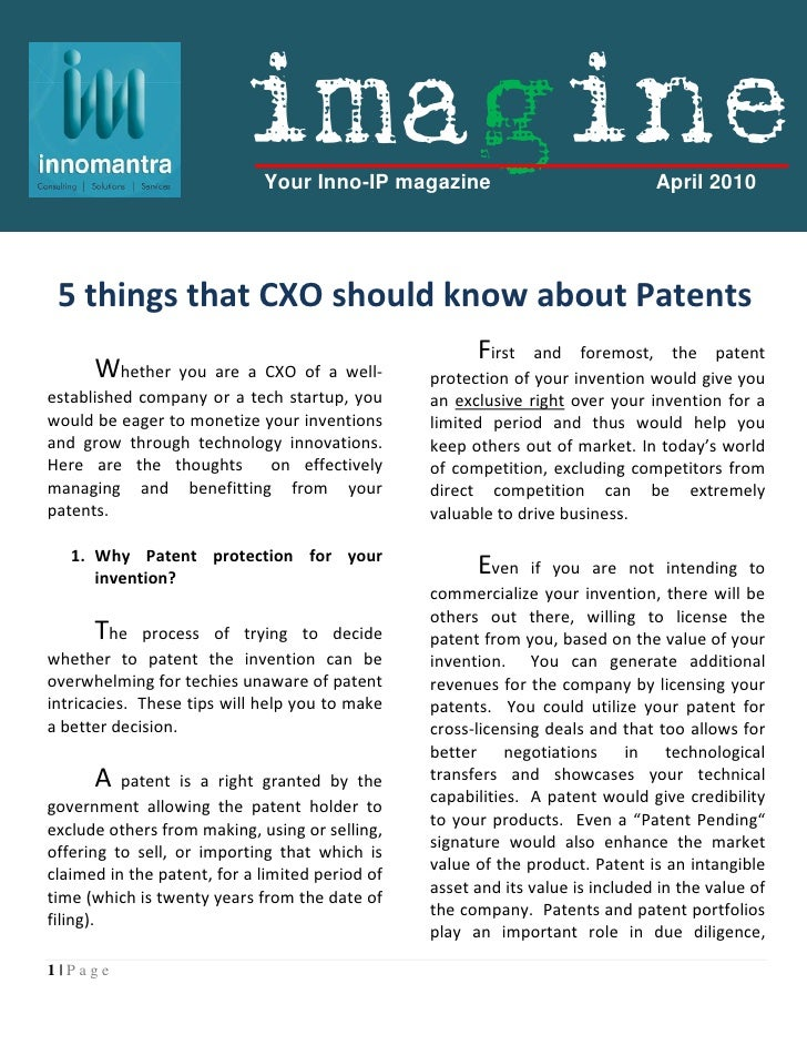 Imagine : Five Things that CXO's Should Know About Patents