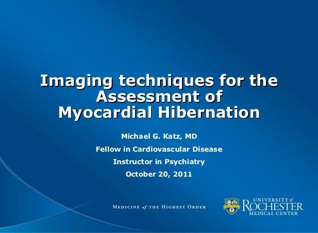 Imaging techniques for myocardial hibernation
