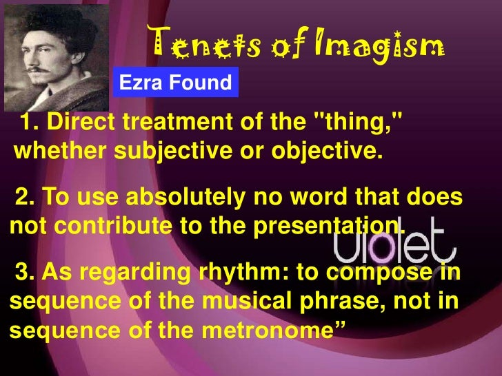 imagism in the works of ezra pound and amy lowell The person known to have defined imagism was ezra pound amy lowell quickly took over this movement, though characteristics of imagism include that the writing is in free verse.