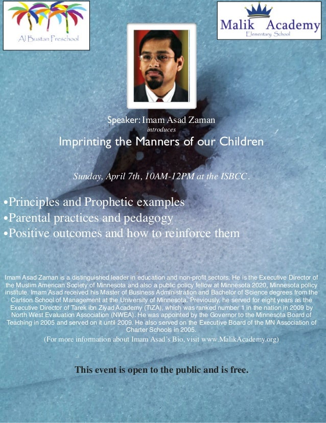 Speaker: Imam Asad Zaman                                                 introduces                  Imprinting the Manner...