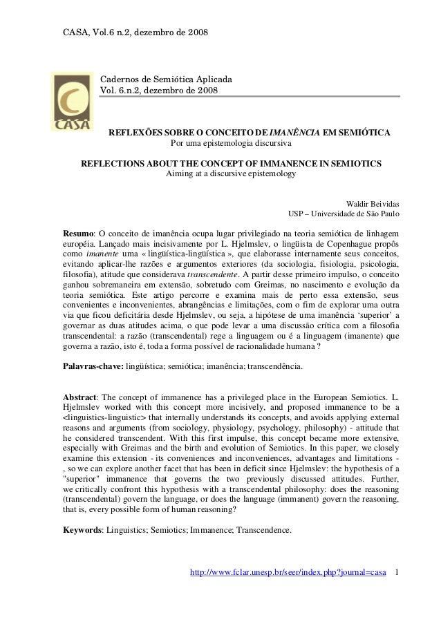 CASA, Vol.6 n.2, dezembro de 2008  Cadernos de Semiótica Aplicada Vol. 6.n.2, dezembro de 2008  REFLEXÕES SOBRE O CONCEITO...