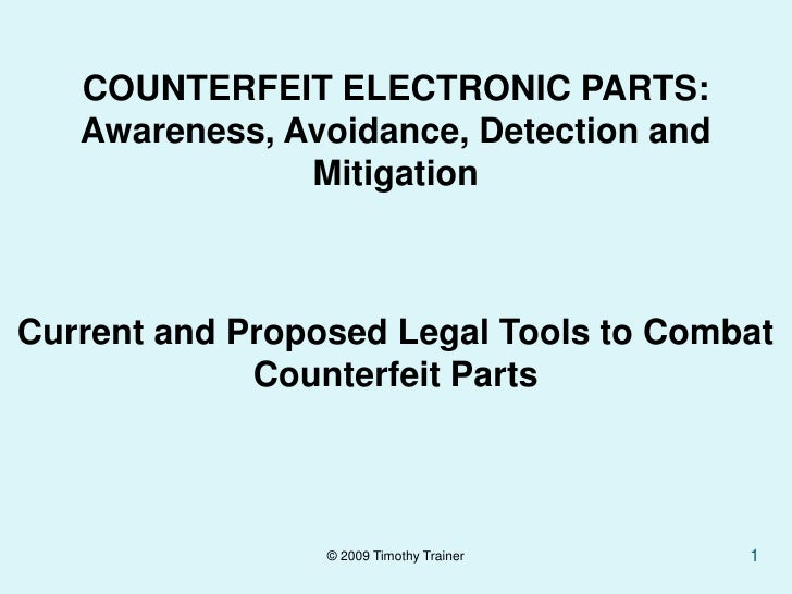 Combating Counterfeits: Legal Enforcement 'Tools' Available -  Trainer