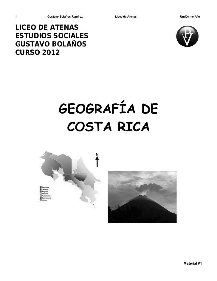Material Geografía de Costa Rica.